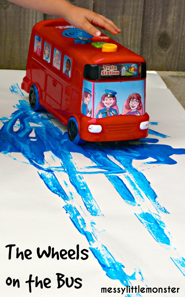 The wheels on the bus art messy little monster for Car painting school