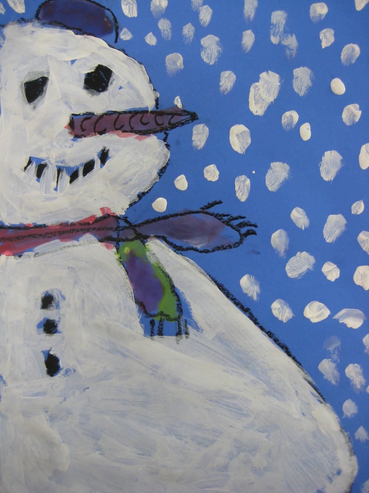 snowmen with tempera teachkidsart