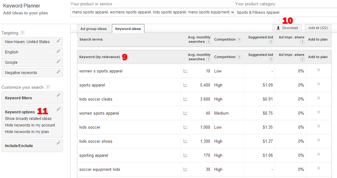 Google Keyword Tool has lots of different options for narrowing down your results.