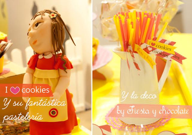 pastel muñeca y pajitas decoradas Fiesta y chocolate