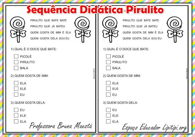 Sequência Didática Pirulito Alfabetização Espaço do Educador Lipitipi