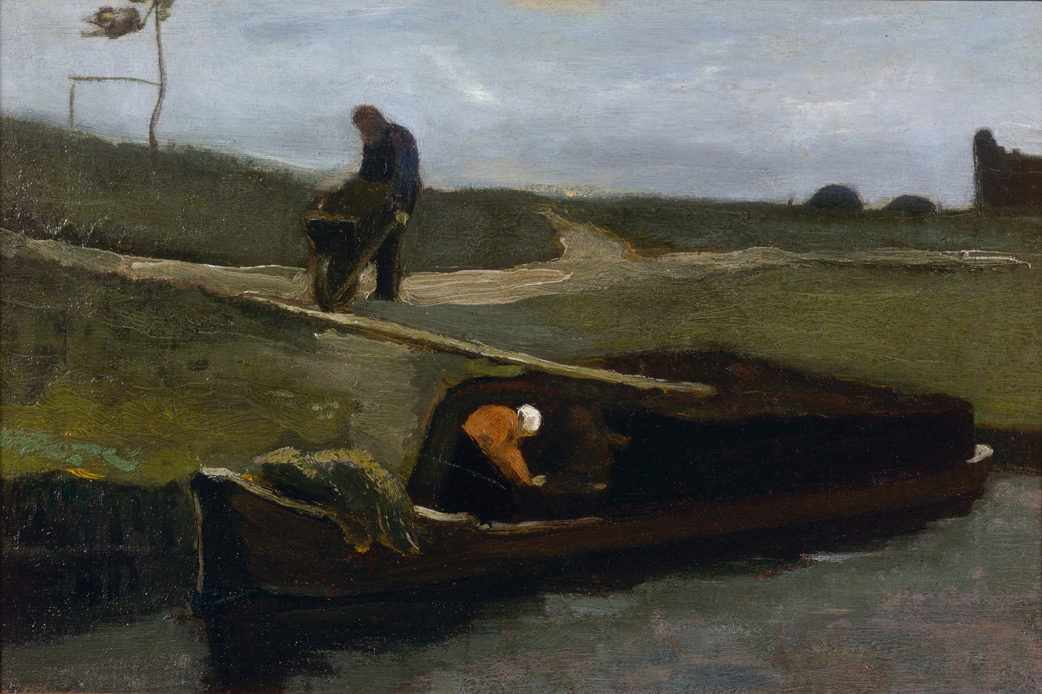 Peat Boat With Two Figures by Vincent van Gogh