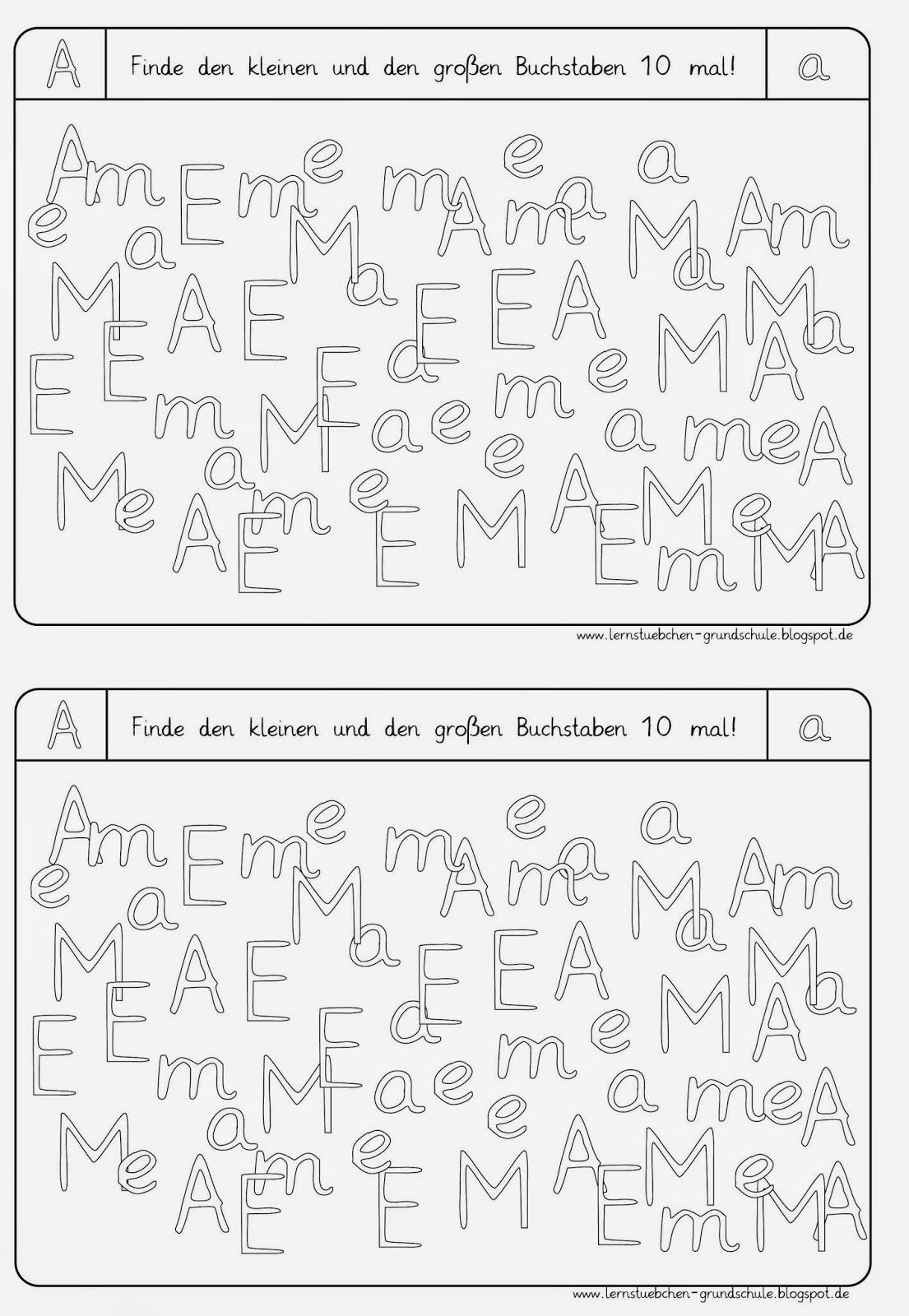 Lernstübchen: Arbeitsblätter zum Erkennen der Buchstaben (2)