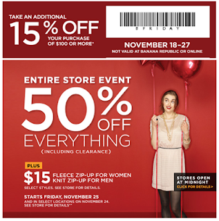 Banana Republic coupon,sales,fashion,chic style