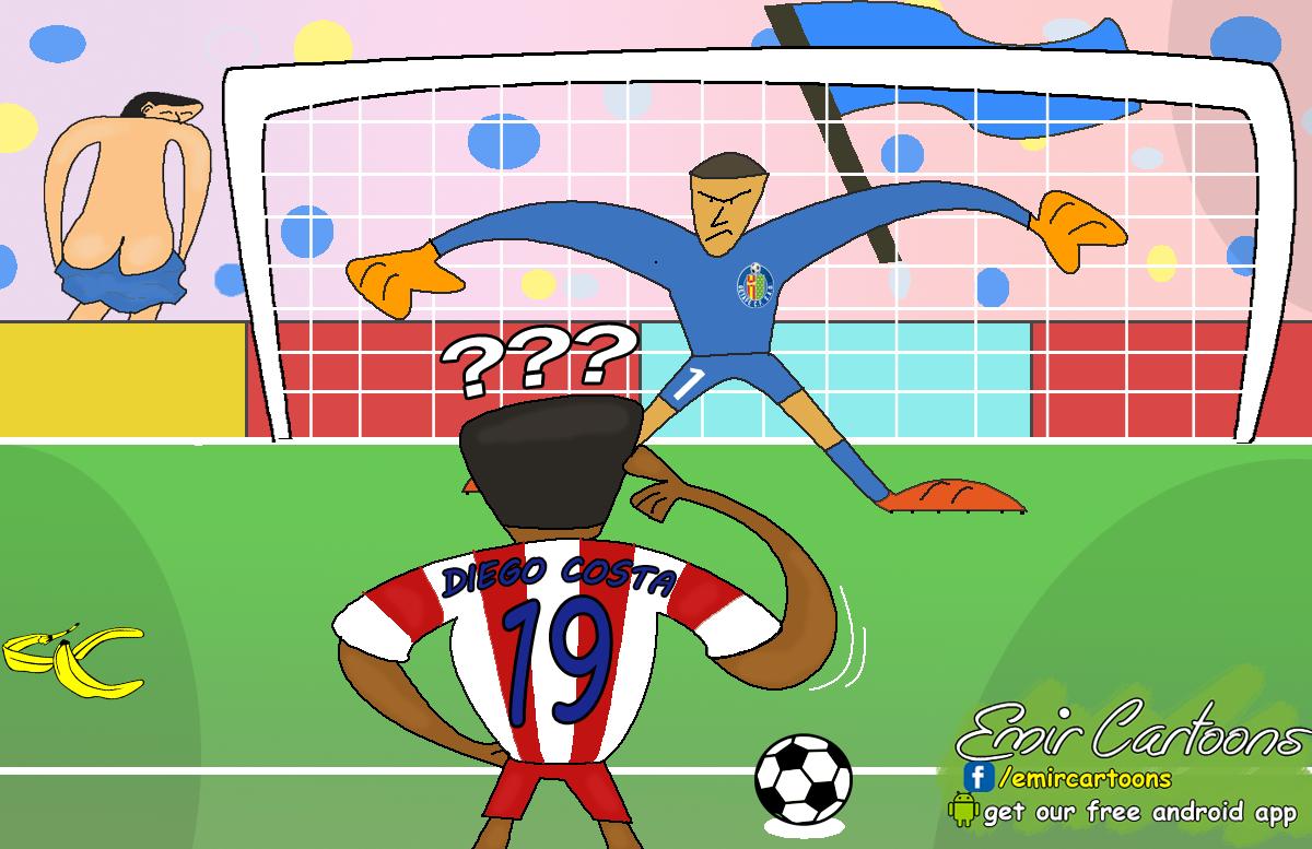 Diego Costa ,Getafe fan,penala, Barcelona, Ateltico Madrid, Ateltico Madrid Diego Costa, Diego Costa cartoon, emir balkan cartoons, karikature, fudbal, karikatura dana,