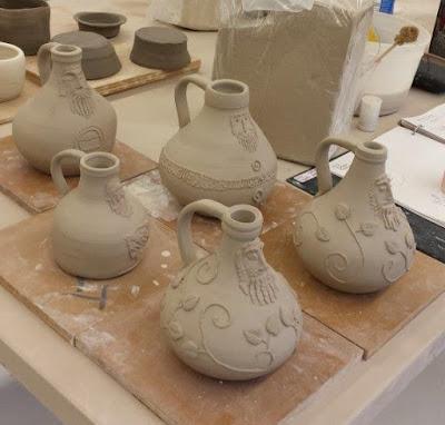 Bartmann or Bellarmine ceramic pottery jugs, in progress.
