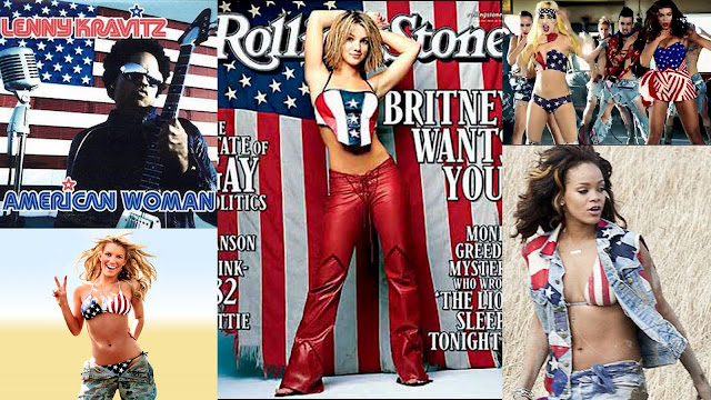 American usa flag clothes on celebrities brittany spears rihanna jessica simpson lady gaga beyonce