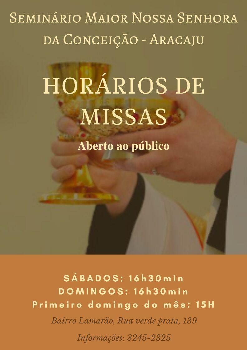 HORÁRIOS DE MISSAS