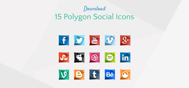 ポリゴンスタイルがクールなデザインの無料ソーシャルアイコン素材セット
