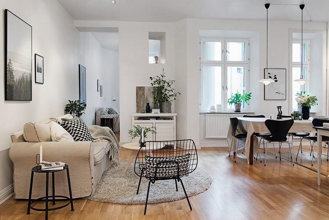 d couvrir l 39 endroit du d cor vaste appartement en blanc noir et gris. Black Bedroom Furniture Sets. Home Design Ideas
