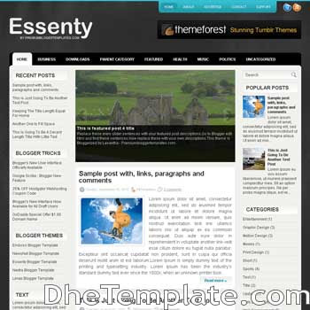 Essenty blog template. magazine blogger template style. magazine style template blogspot. 3 column blogspot template