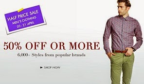Half Price Sale: Flat 50% Off on Men's Clothing starts from Rs.149@ Amazon (Valid till 21st April'15)