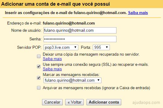 Configurações final de encaminhamento de e-mails