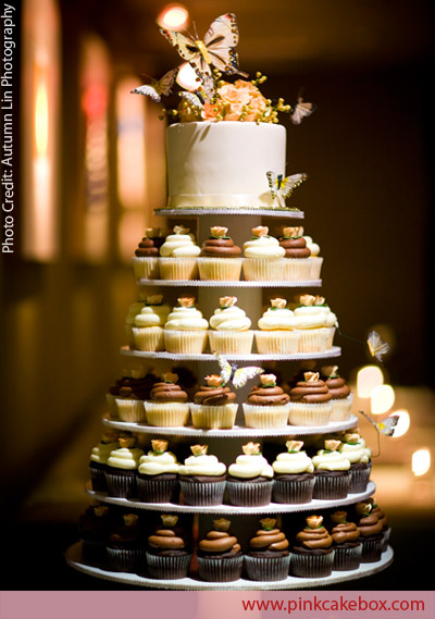6 Tier Wedding Cupcake Tower Chocolate and Vanilla by Pink Cake Box