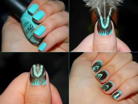 Nail art: Unhas com aplicação de pena