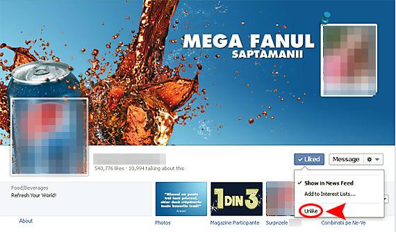 Puteti sa dati UnLike unei companii de pe pagina Facebook a acesteia