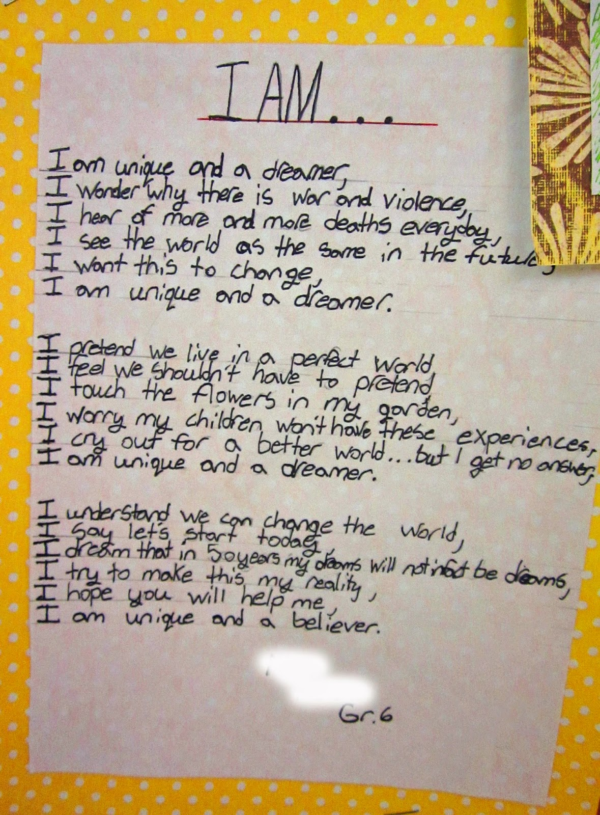 """We started with biography poems - there are many """"I Am ..."""" templates ..."""