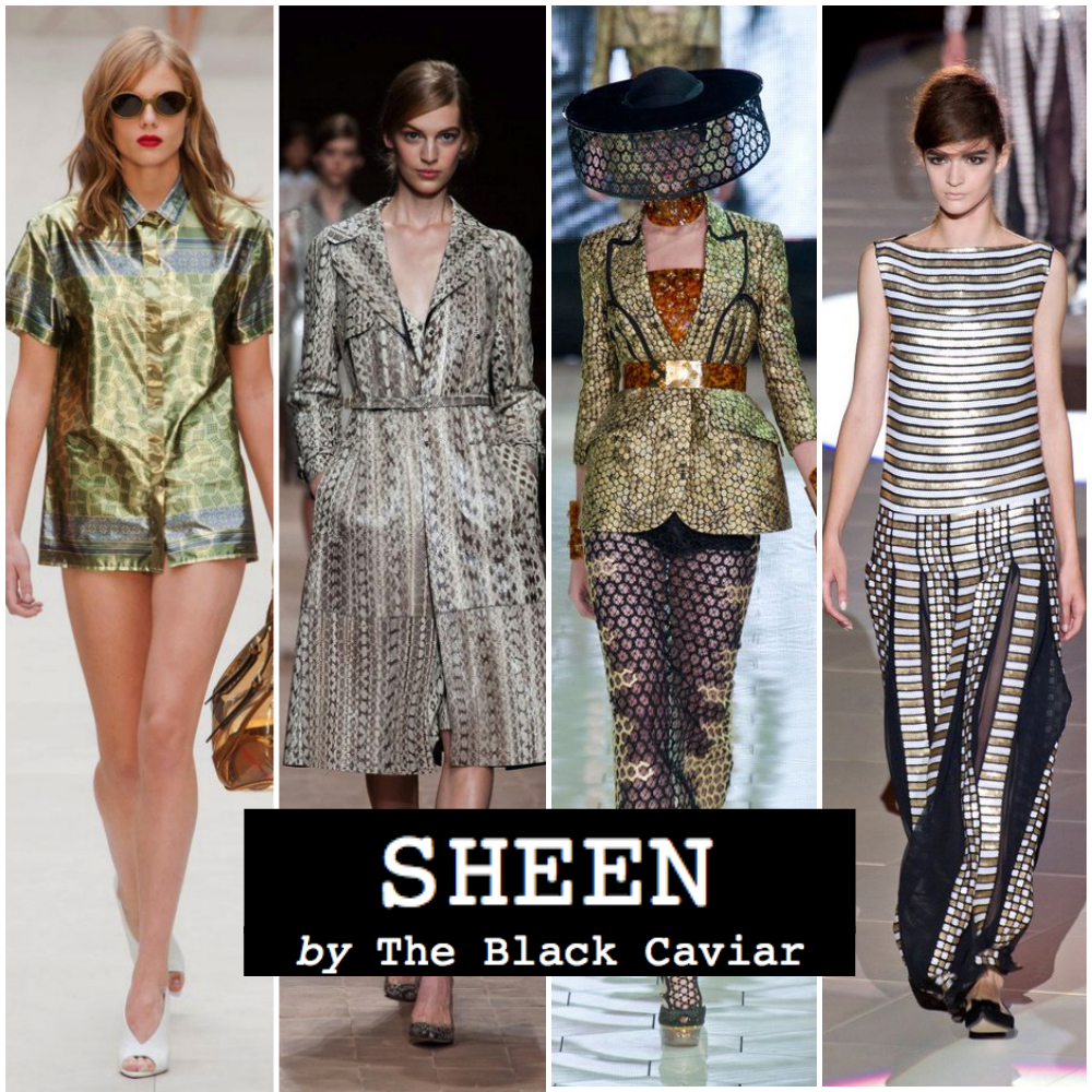 Summer fashion trend 2013: Sheen (Alexander McQueen, Marc Jacobs, Burberry Prorsum, Valentino)