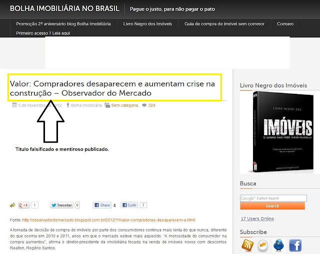 Matéria do Valor Econômico falsificada no site Bolha Imobiliária