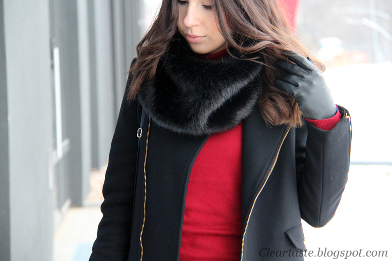 black fake fur scarf