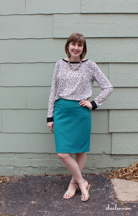 Leopard Blouse + Bright Pencil Skirt | www.shealennon.com