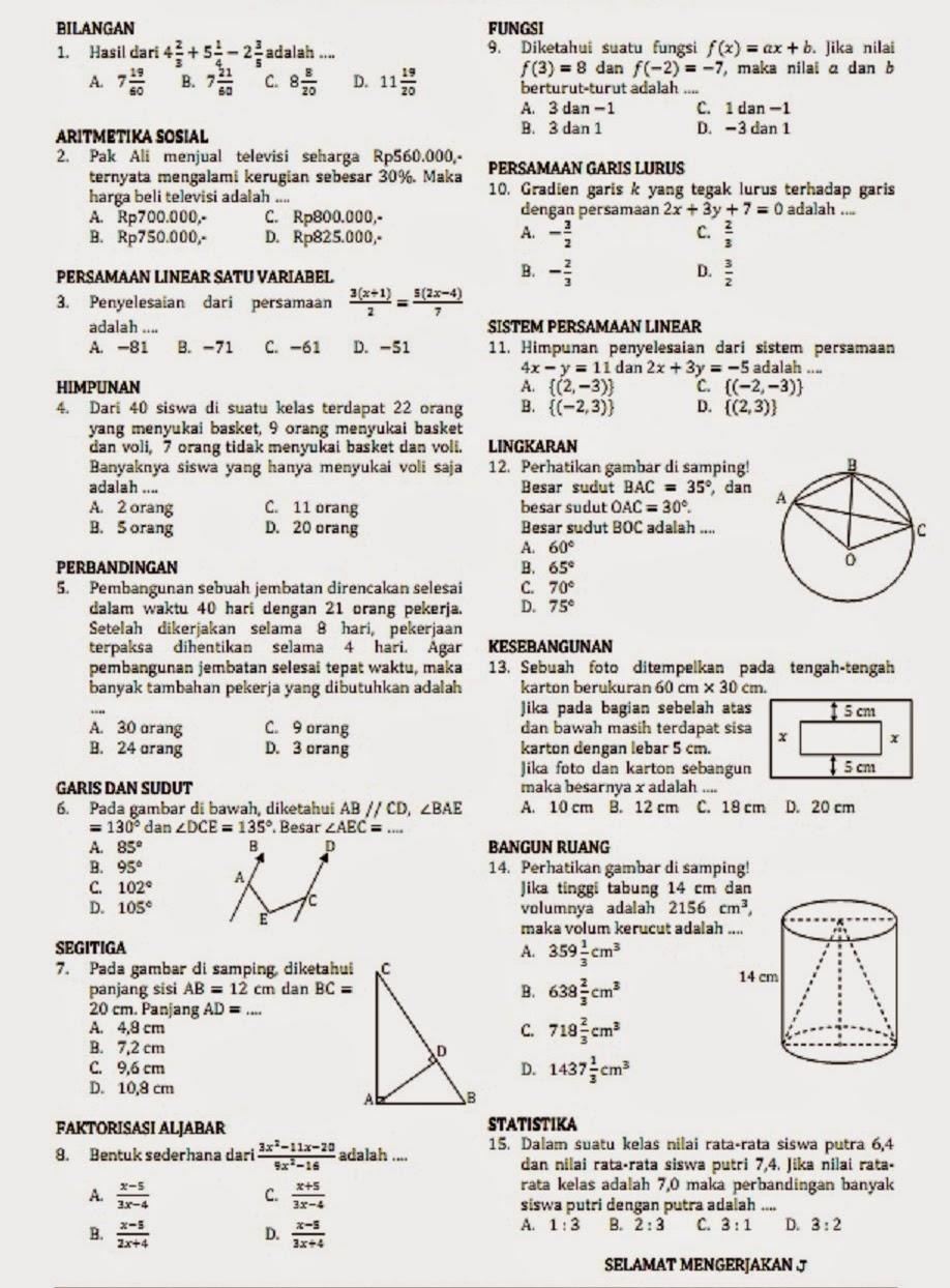 Soal Dan Pembahasan Un Matematika Smp Mts Matematikaku Net