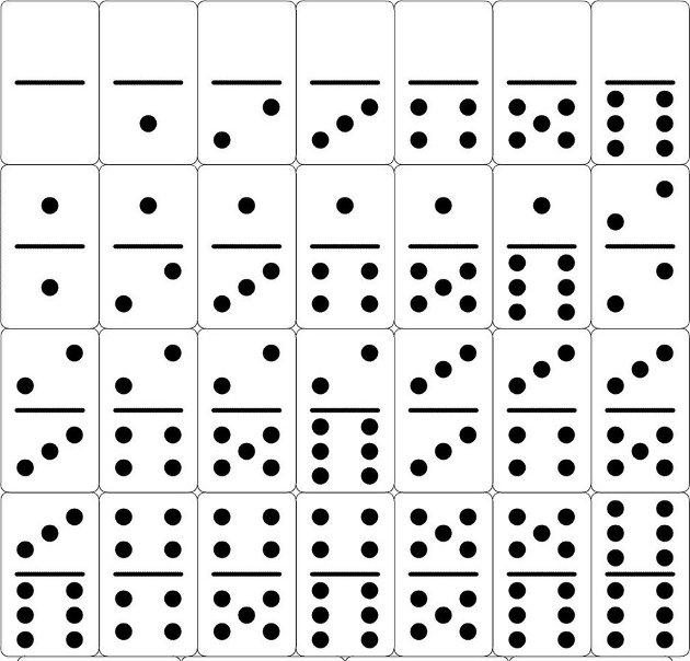 Fichas de domino para recortar - Imagui