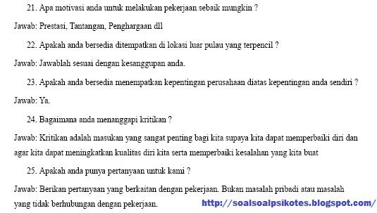 Contoh Soal Psikotes Tpa Wawancara Kerja Pt Freeport Indonesia Gratis