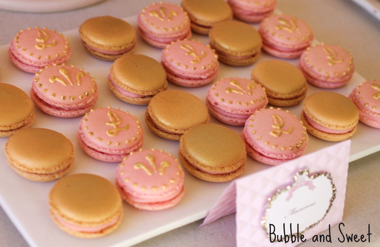 Pink and Gold decorated Shabby Chic princess macarons & Bubble and Sweet: Pink and Gold decorated Shabby Chic princess macarons