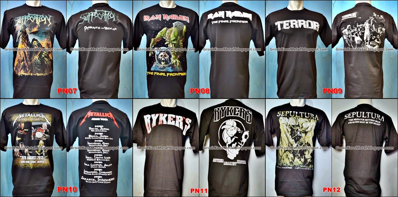 Grosir Kaos Metal Katalog Metalica Suffocation Iron Maiden Terror Metallica Rykers Sepultura