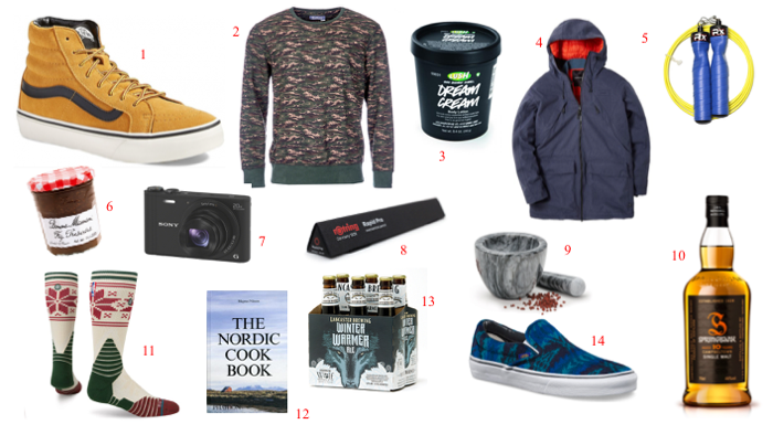 1. Vans Hi-Tops  2. Barbour Heritage Sweater  3. Lush Dream Cream  4. Finisterre CWS Caelus Parka  5. Rx Gear Jump Ropes  6. Bon Maman Fig Preserves  7. Sony Cybershot  8. Rotring Mechanical Pencil  9. Mortar & Pestle  10. Springbank  11. Stance Christmas Socks  12. The Nordic Cookbook  13. Lancaster Brewing Winter Warmer  14. Vans x Pendleton Slip-Ons ; 2015 Christmas Gift Guide holiday ;Stockings are hung and lights are a-glow, Christmas shopping has begun and not even a chance of snow!  I promise I wont continue rhyming through this post, but I WILL recommend a couple of my favorite things that may guide your Christmas shopping this year!  Merry Christmas to all!   1. Vans Hi-Tops  2. Barbour Heritage Sweater  3. Lush Dream Cream  4. Finisterre CWS Caelus Parka  5. Rx Gear Jump Ropes  6. Bon Maman Fig Preserves  7. Sony Cybershot  8. Rotring Mechanical Pencil  9. Mortar & Pestle  10. Springbank  11. Stance Christmas Socks  12. The Nordic Cookbook  13. Lancaster Brewing Winter Warmer  14. Vans x Pendleton Slip-Ons;new years whisky