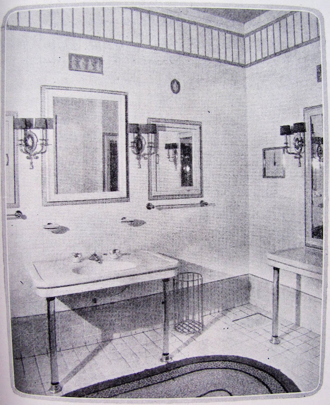 also shows us wall sconces an ornate vanity mirror and pedestal sink title=