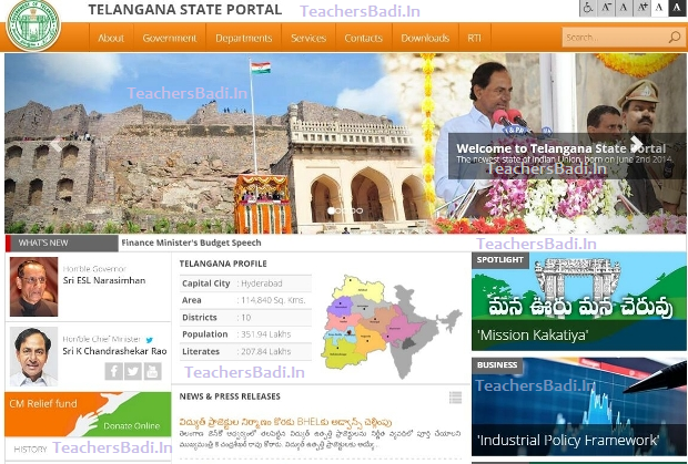 Telangana State Web Portals, Web Sites, Official Govt. Web Sites, Department Wise Websites, Online Web Portal