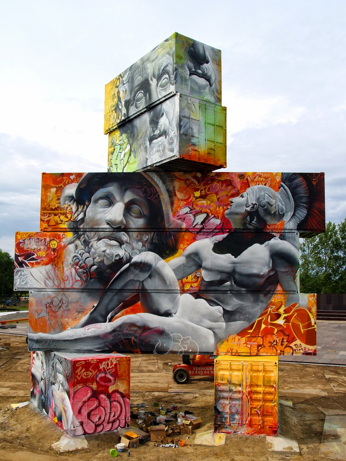 PichiAvo are now in Belgium where they were invited to paint for the North West Walls Street Art Festival in Werchter.