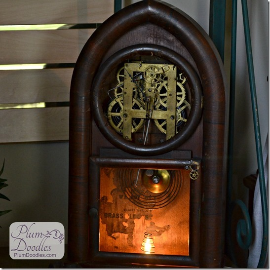 Steampunk lamp from a clock, by Plumb Doodles featured on I Love That Junk