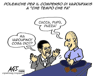 Fabio Fazio, che tempo che fa, varoufakis, vignetta satira
