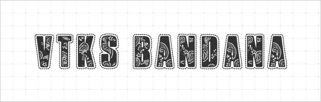 バンダナ風の模様とパッチワークのようなアウトラインのフォント | フリーの飾り文字のデコレーションフォント。