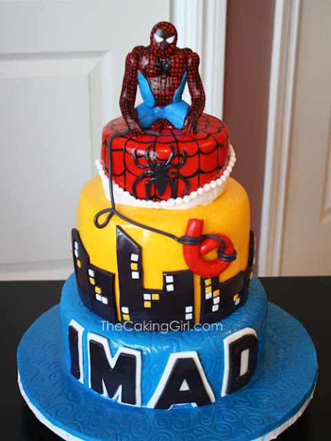 3 tier spiderman cake