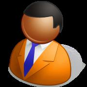 パワポマン(オレンジスーツ、青ネクタイ、麻黒肌 ...