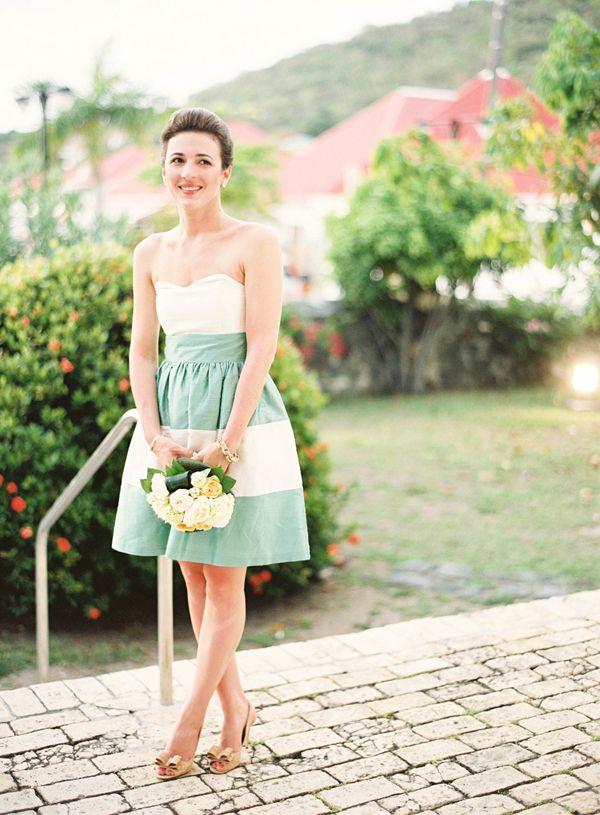 Chic bridesmaid dress stylish striped bridesmaid dresses for Striped bridesmaid dresses wedding