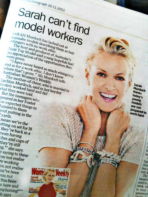 australia's next top model, sarah murdoch, sydney fashion photographer gilbert rossi comments on sunday telegraph story on model's work ethic