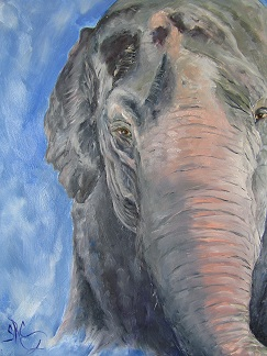 """Methai"" an elephant in painterly style"