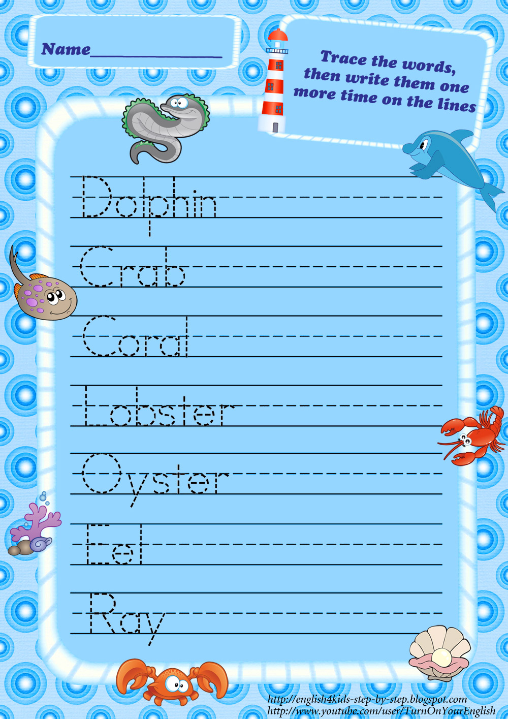 Ocean Animals Worksheets – Trace Your Name Worksheet