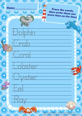 sea animals esl handwriting worksheet