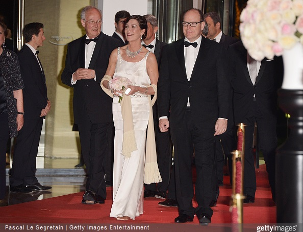 Prince Albert II of Monaco and Princess Caroline of Hanover attend the Rose Ball 2015 in aid of the Princess Grace Foundation at Sporting Monte-Carlo