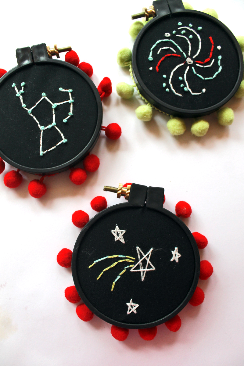 Embroidered Constellations! @punkprojects using an @hazelandruby Crafternoon kit to create these embroidered space scenes.