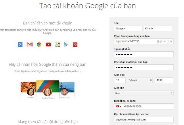 đăng ký tài khoản Gmail nhanh nhất