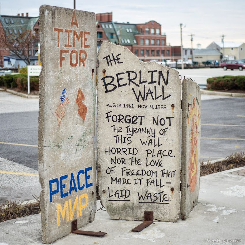 Piece of the Berlin Wall in Portland, Maine USA. Located on Long Wharf in the Old Port. Photo by Corey Templeton. November 9, 2014.