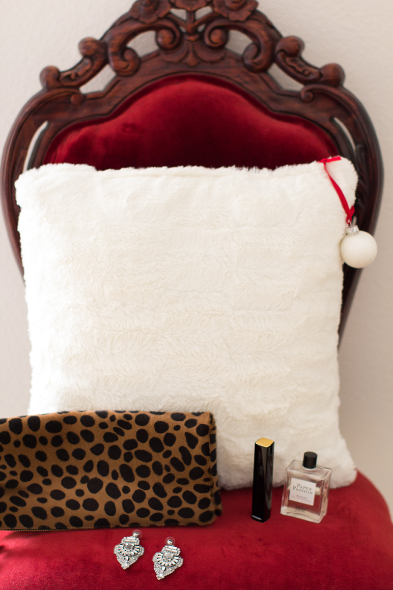 faux fur pillow, clare v. leopard clutch, art deco chandelier earrings