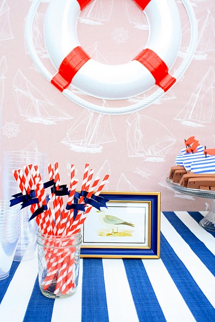 Nude beach fun nautical sailboat birthday party for Anchor decoration party